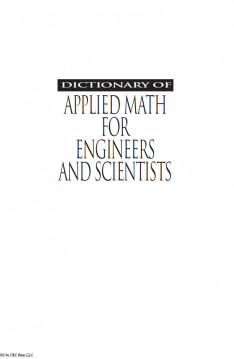 Dictionary of Applied Math for Engineer and Scientists